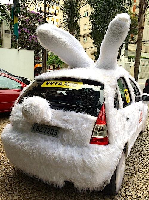 Bobeira minha, eu sei, mas fiquei encantado com o rabinho pom-pom na traseira do táxi-coelhão!